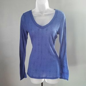 Lucy Sheer Blue Fitted V-Neck Long Sleeve Top M